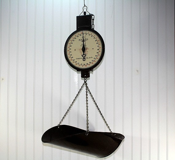 Vintage hanging scale kitchen scale industrial decor for Decor steals scale