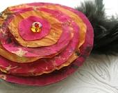 Orange Pink Flower Brooch Indian Wedding