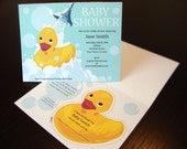 Rubber Ducky Baby Shower Invitation with Unique Book Label  - Set of 10