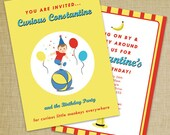 Curious George Inspired Invitation - Set of 12