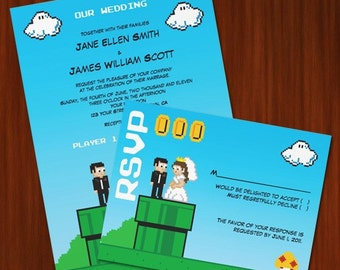 Old School Nintendo Inspired Wedding Invitation - PRINTABLE DIY