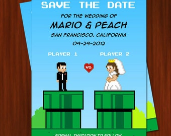Old School Nintendo Inspired Wedding Save the Date Invitation