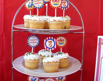 Circus Carnival Cupcake Toppers (Set of 12)