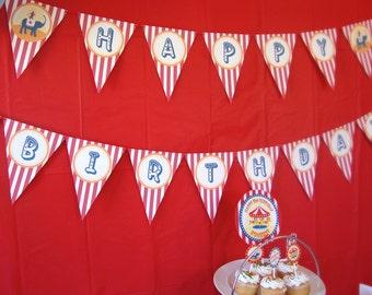 Carnival Circus Happy Birthday Banner