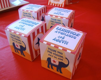 Carnival Circus Treat Favor Boxes (2.5 inch square) - 12 boxes