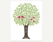 Wedding Gift / Anniversary Present - Family Love Tree with Love Birds Digital Print