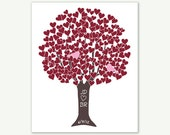 Love Tree w Lovebirds in Red Pink Chocolate - Wedding Gift Digital Print Monogram Name Date - Engagement Shower Wedding