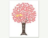 Personalized Love Birds Wedding Pink Coral Heart Tree Yellow Love Birds - Digital Print Initials Date - Shower Anniversary Monogram