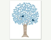 Wedding Gift / First Anniversary Gift - Heart Tree Love Birds - Blue & Taupe - Art Print by ColorBee Digital Print