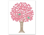 Wedding Gift - Happy Anniversary Tree - Pink Green Taupe - Art Print Digital Print Monogram Date - Engagement Shower