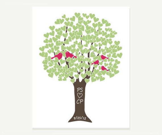 Wedding Gift / Anniversary Present - Family Love Tree with Love Birds Digital Print