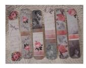 Shabby Vintage Bookmarks - SET of 6