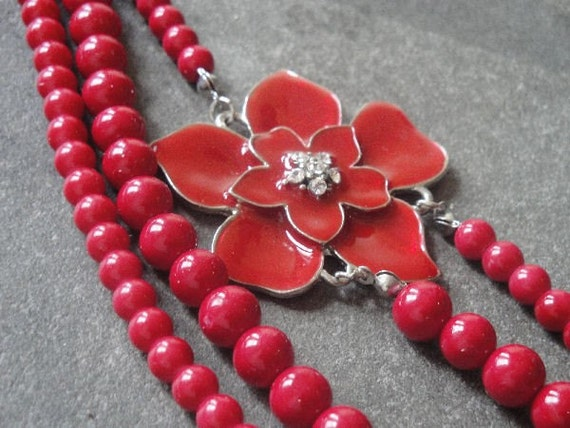 ON SALE Red Enamel Flower Necklace, Silver tone