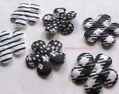 Black Mixed Lot padded appliques embellishments great for hair clips, beanies, kufis, angel wings, puffs