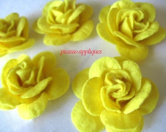 BIG Lovely 4D Felt Lemon Yellow Rose appliques embellishments Lovely Lemon Bright and Cheer!