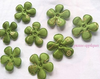 10 Beautiful Satin Green Vintage Brocade padded appliques embellishments Lovely Green Satin Brides