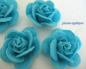 BIG 4D Lt. Blue Lovely Felt  Rose appliques embellishments