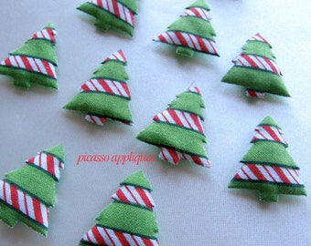 Striped Christmas Tree Pattern  padded appliques embellishments (