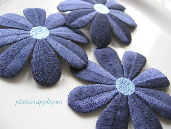 3 Big Pretty Flower appliques embellishments Iron or Sew on - 3 inch Closout sale