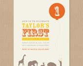 Balloon Animal Party First Birthday Invitation - Circus inspired theme. Personalized DIY Printable PDF Digital File