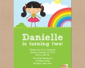 Rainbow Party Birthday Invitation Personalize DIY printable - PDF Digital File