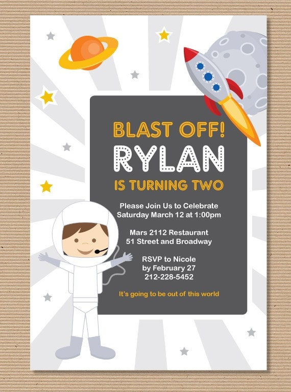 Items similar to astronaut rocket space theme birthday for Space themed stationery