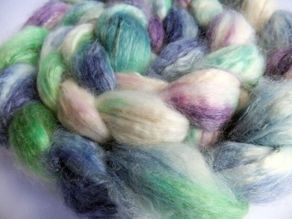 Butterflies No 2 - Faux Cashmere, Soysilk and Tencel Roving - 4.1 oz