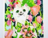 Smiley Cat - Cat Illustration - Archival A4 Print from original illustration