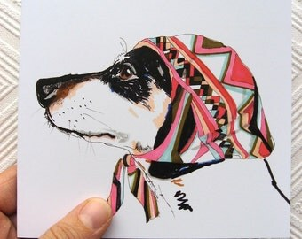 Pooch In Pucci - Dacshund in Pucci Headscarf - Sausage Dog Illustration - Weiner Portrait - Square blank greetings card