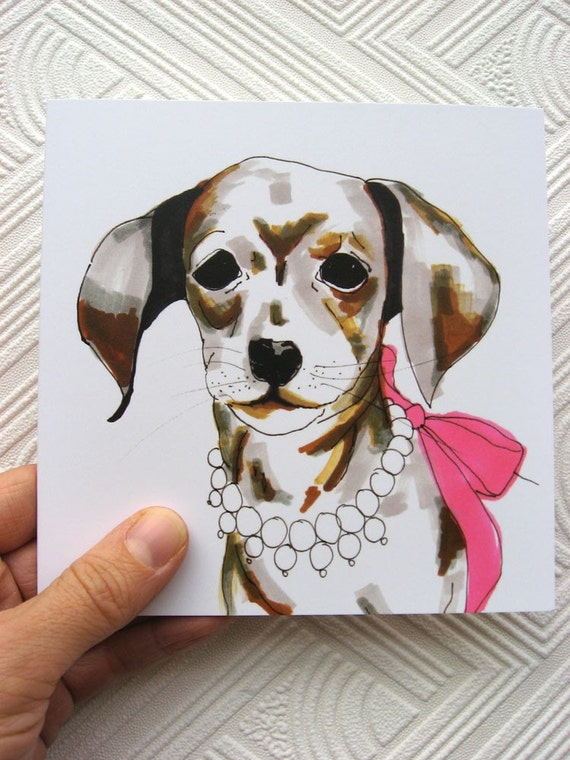 Joan the dachshund - Sausage Dog In Pearls And Pink Bow - Weiner Illustration - Square blank greetings card