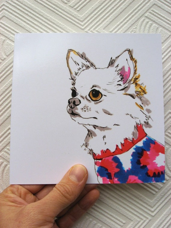 Rob - Chihuahua Illustration - Chihuahua Portrait - Long Haired Chihuahua Illustration - Square blank greetings card