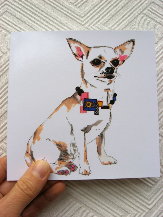 Robert The Chiauhua - Chihuahua Illustration - Chihuahua Portrait In Necklace - Square Blank Greetings Card