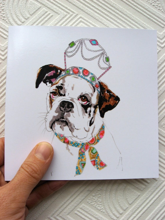 Queenie The Boxer Dog- Boxer Dog Portrait In Crown - Boxer Dog Illustration - Square Blank Greetings Card
