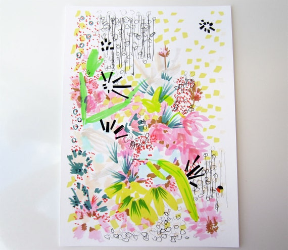Floral Doodle 4 - Flower Illustration - Archival A4 Print from original illustration