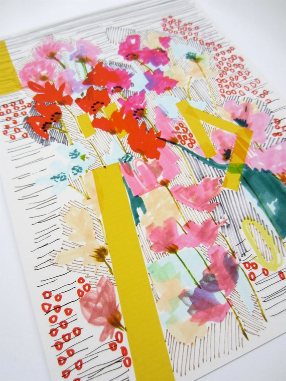 Floral Doodle 2 - Flowers with Yellow Stripes - Abstract Floral -  original floral illustration - Floral Decor