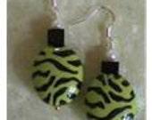 Green Zebra Stripe Earrings