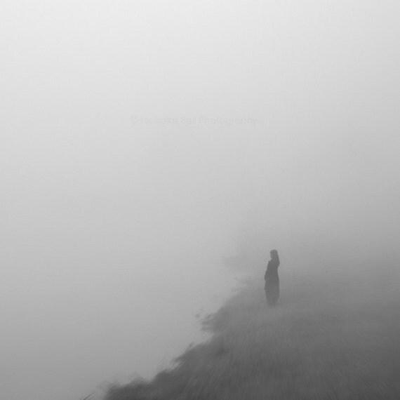 black and white photography, fog, foggy, moody, grey, mystery, minimalist photography, woman,