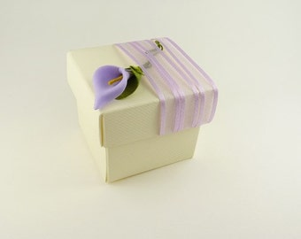 10 Lilac Calla Lily Themed Wedding  Favor Boxes- For your table decoration, anniversary, jewelry box, wedding accessory
