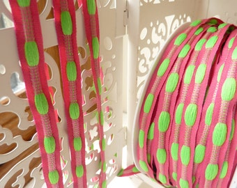 Fuchsia pink & lime green stitched effect ribbon   1yd - 10mm (0.39 inches)