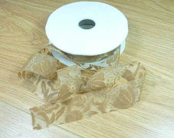 Sheer organza ribbon with a brown velvet floral print 1yd - 30mm (1.2 inches)