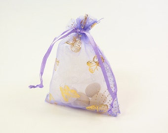 Butterfly Favors, Lilac Organza Favor Bag. Ideal for weddings, packaging, jewelry pouch, birthday parties