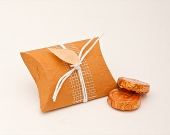 Orange pillow shaped wedding favor box Set of 10- Eco friendly favors for your wedding guests, bridal party, dinner table decoration.