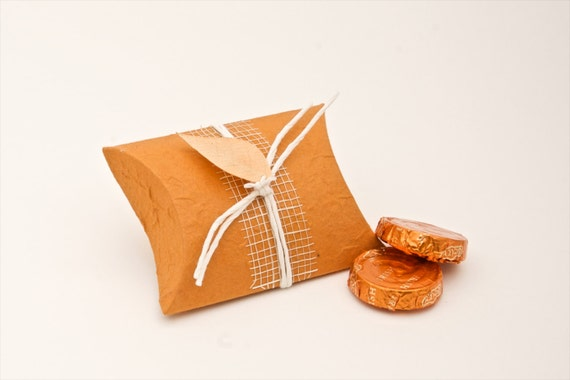 Orange pillow shaped wedding favor box- Eco friendly favors for your wedding guests, bridal party, dinner table decoration.