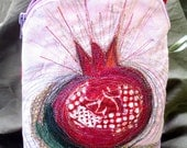 Embroidery Purse - Red Pomegranate - Textile Art - OOAK