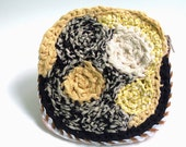 Free form crochet purse - Four circles fabric - abstract art moon sun - Unique - yellow grey beige black white - ooak rag bag