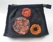 Denim Purse pouch textile crochet circles embroidery blue orange recycled plastic bag upcycled cosmetics iphone ipod case unique gift idea