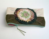 Pencil case pouch in olive beige with crochet applique pink lining  embroidered