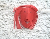 Paper garland art mask wall decoration 6 red smiling faces handmade whimsical papercut hair fun ornament home decor holiday humor smile