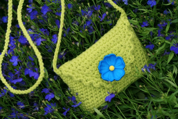 Salad Green Purse with Blue flower closure for iPhone, iPad, Credit Cards or  Camera