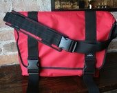 The Boonville - Red Messenger w/ Blue Reclaimed Truck tarp removable Liner - Rugged Bicycle Bag, Commuting, Track Bike